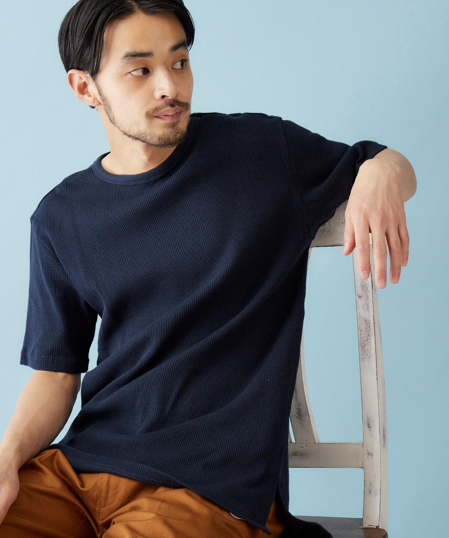 サーマル半袖ワッフル編みクルーネックサイドスリットカットソー