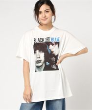 THE ROLLING STONES/BLACK AND BLUE プリント ビッグTシャツ