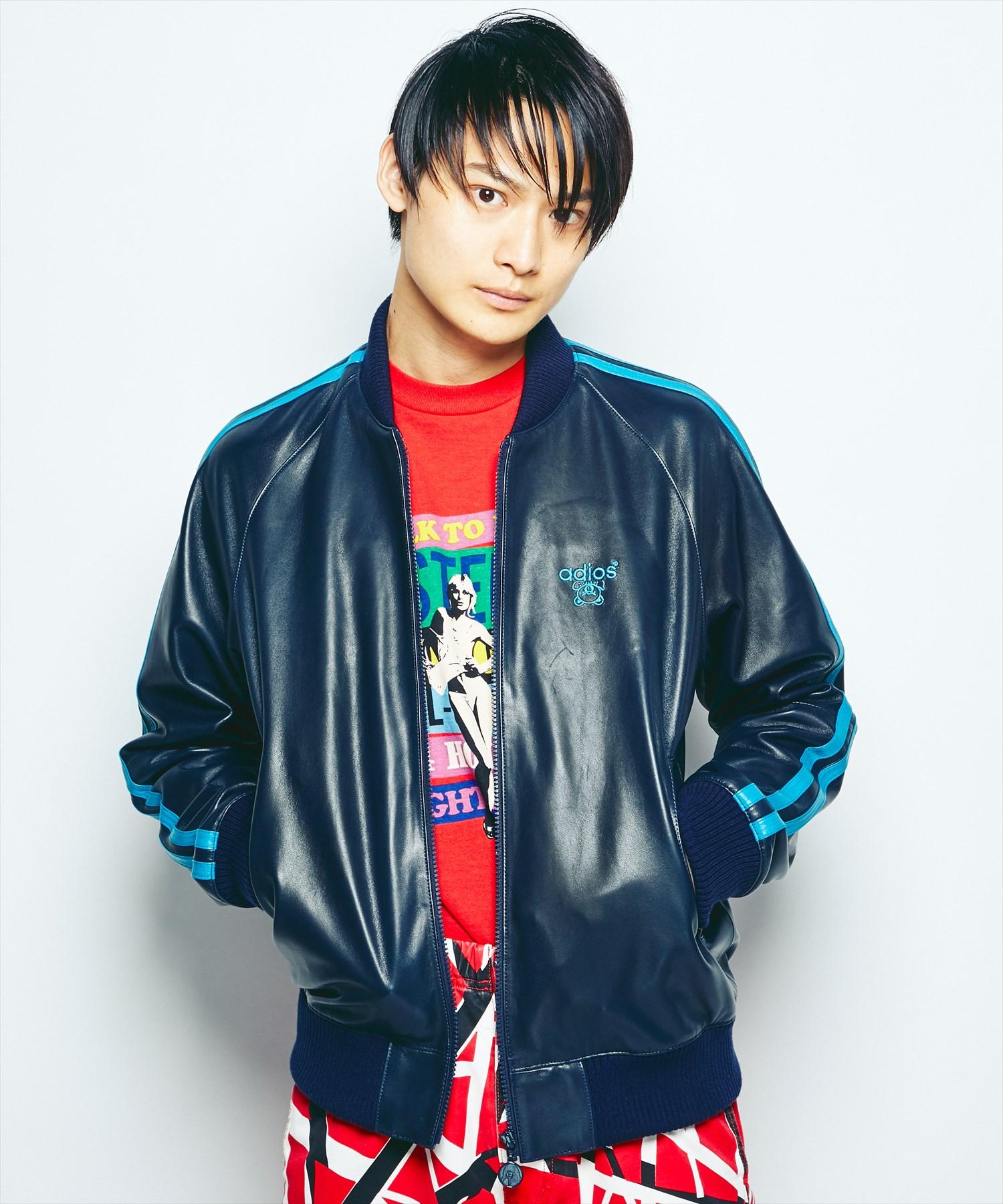 ADIOS刺繍 レザートラックジャケット