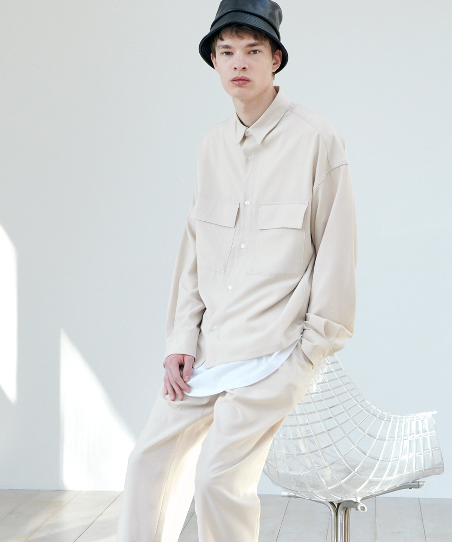 【セットアップ】ブライトポプリン レギュラーカラー L/S オーバーサイズ ドレープ CPOシャツ&ワイドアンクルシェフパンツ EMMA CLOTHES 2020AW