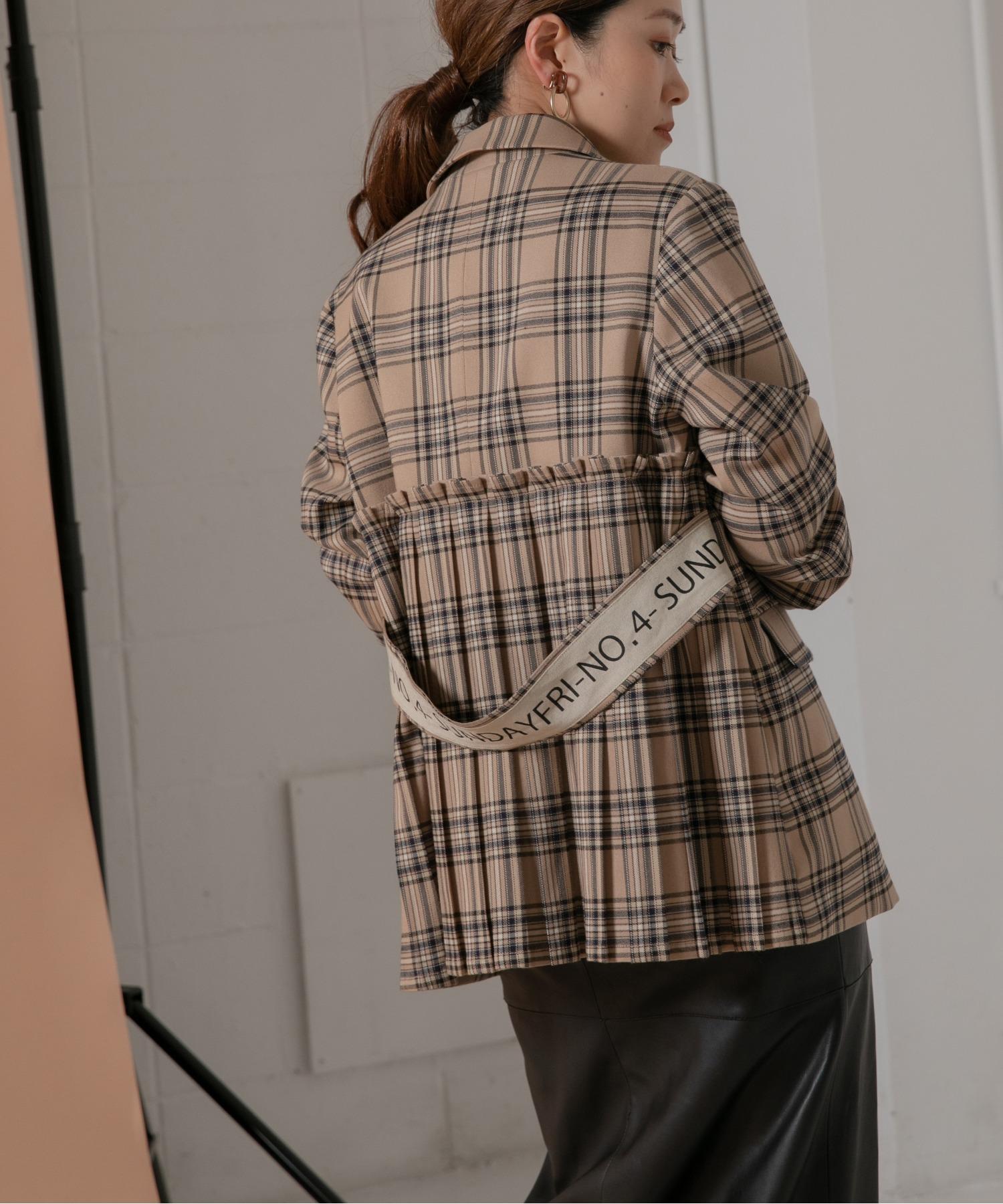 【Eimee Law】バックプリーツロゴテープベルト付きチェックジャケット