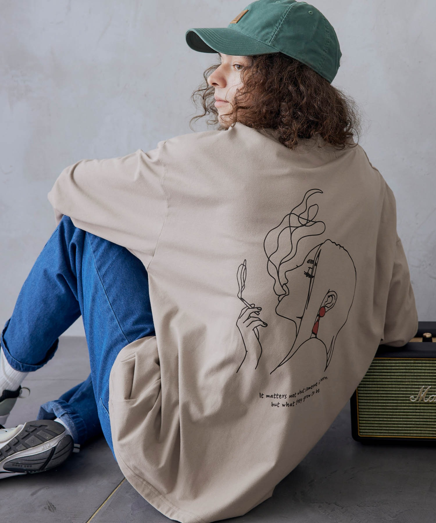ビッグシルエット イラストデザイン クルーネック長袖Tシャツ-2021SPRING-