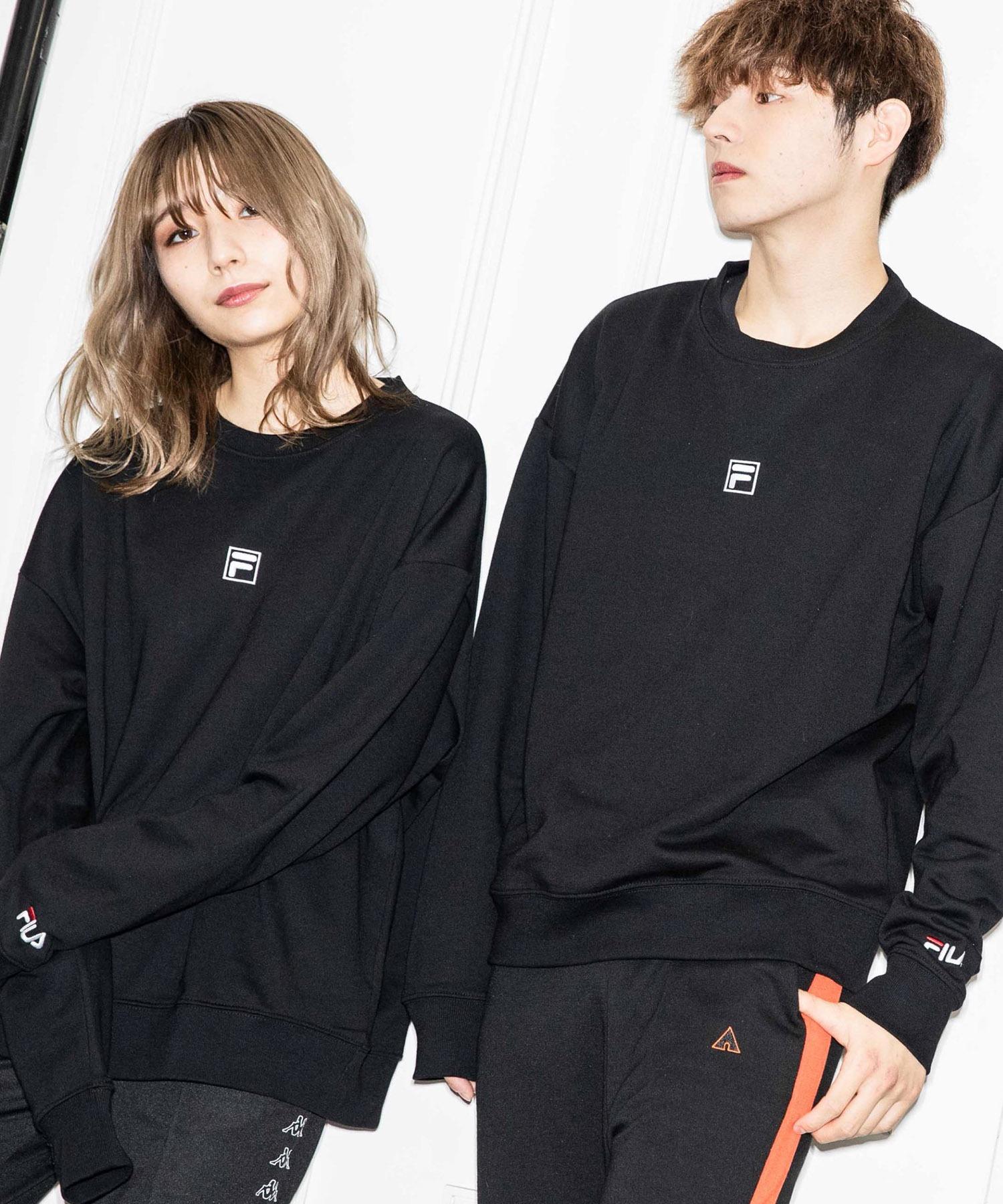 【BASQUE -enthusiastic design-】FILA/フィラ BASQUE magenta 別注 ロゴ刺繍オーバーサイズ プルオーバースウェット
