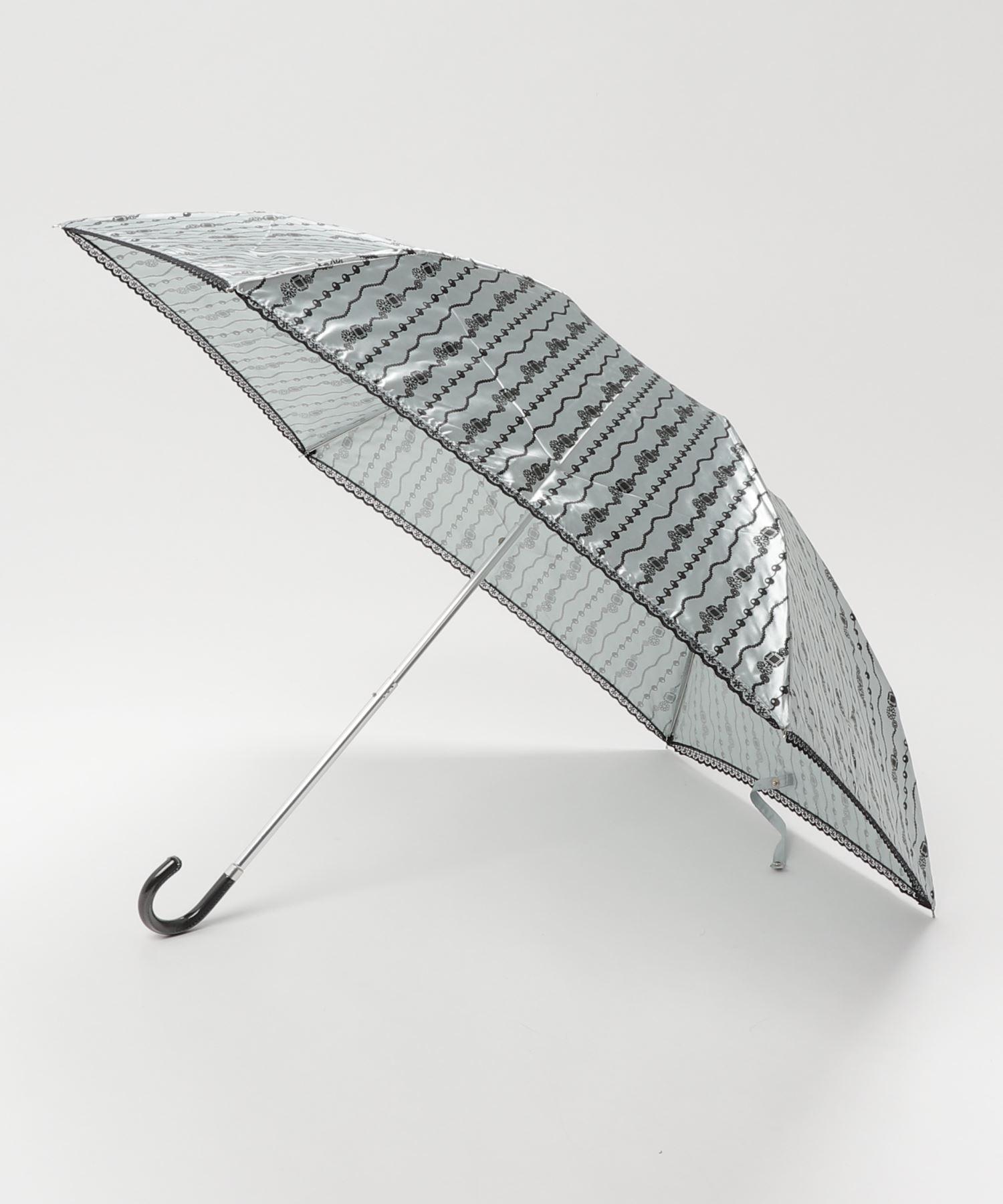 雨晴兼用 サテンジュエリープリントミニ折りたたみ傘 1381