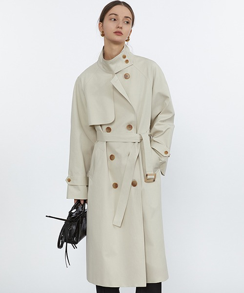 【Fano Studios】【2021SS】Oversized double breasted high neck trench coat cb-3 FC21W033