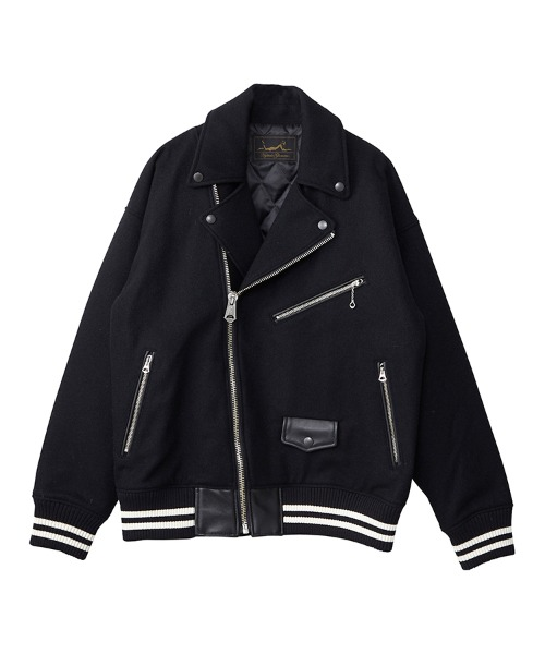 TEAM LOGO刺繍 オーバーサイズライダースジャケット