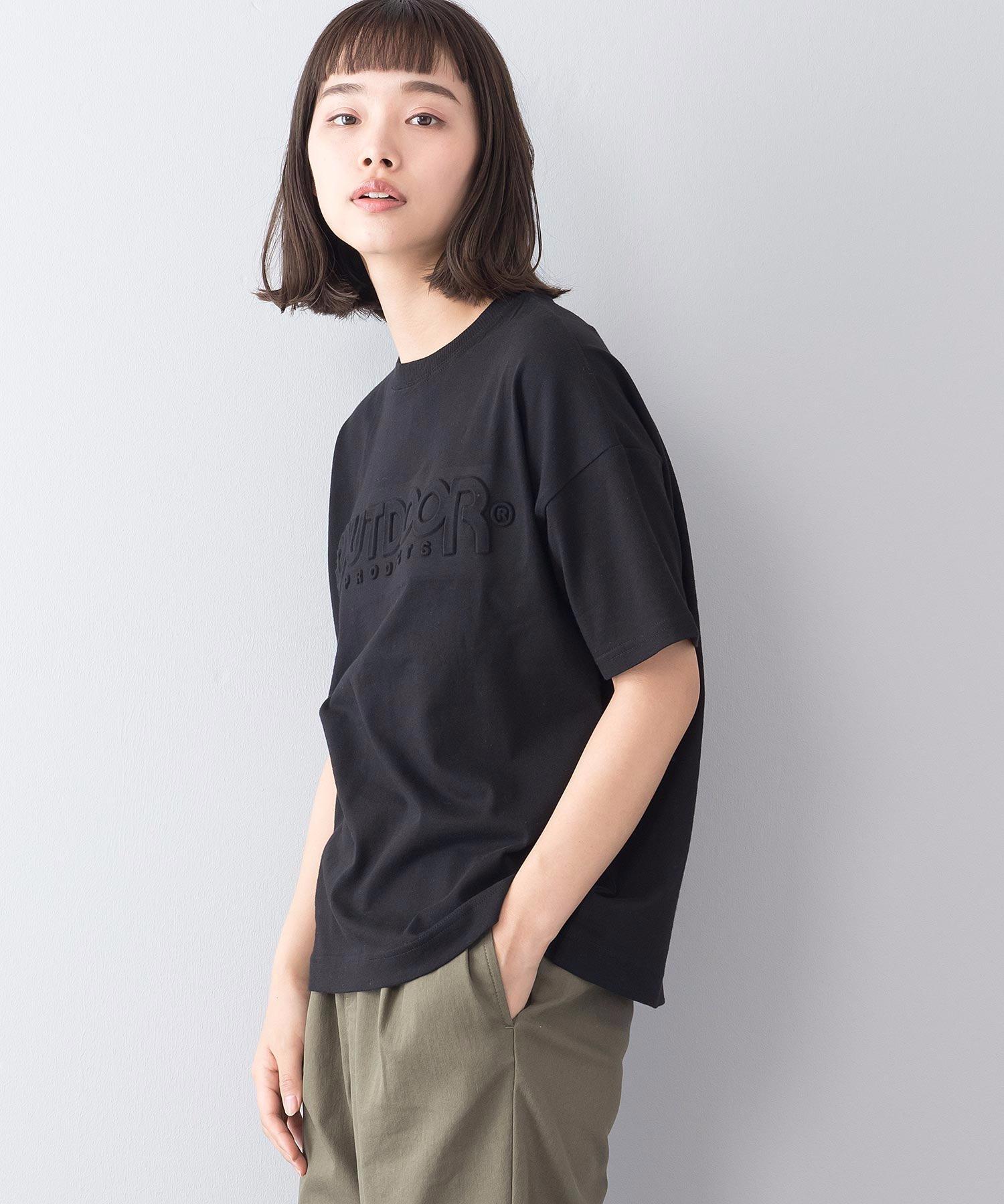 エンボスロゴTシャツ 同色プリント ブランドロゴ