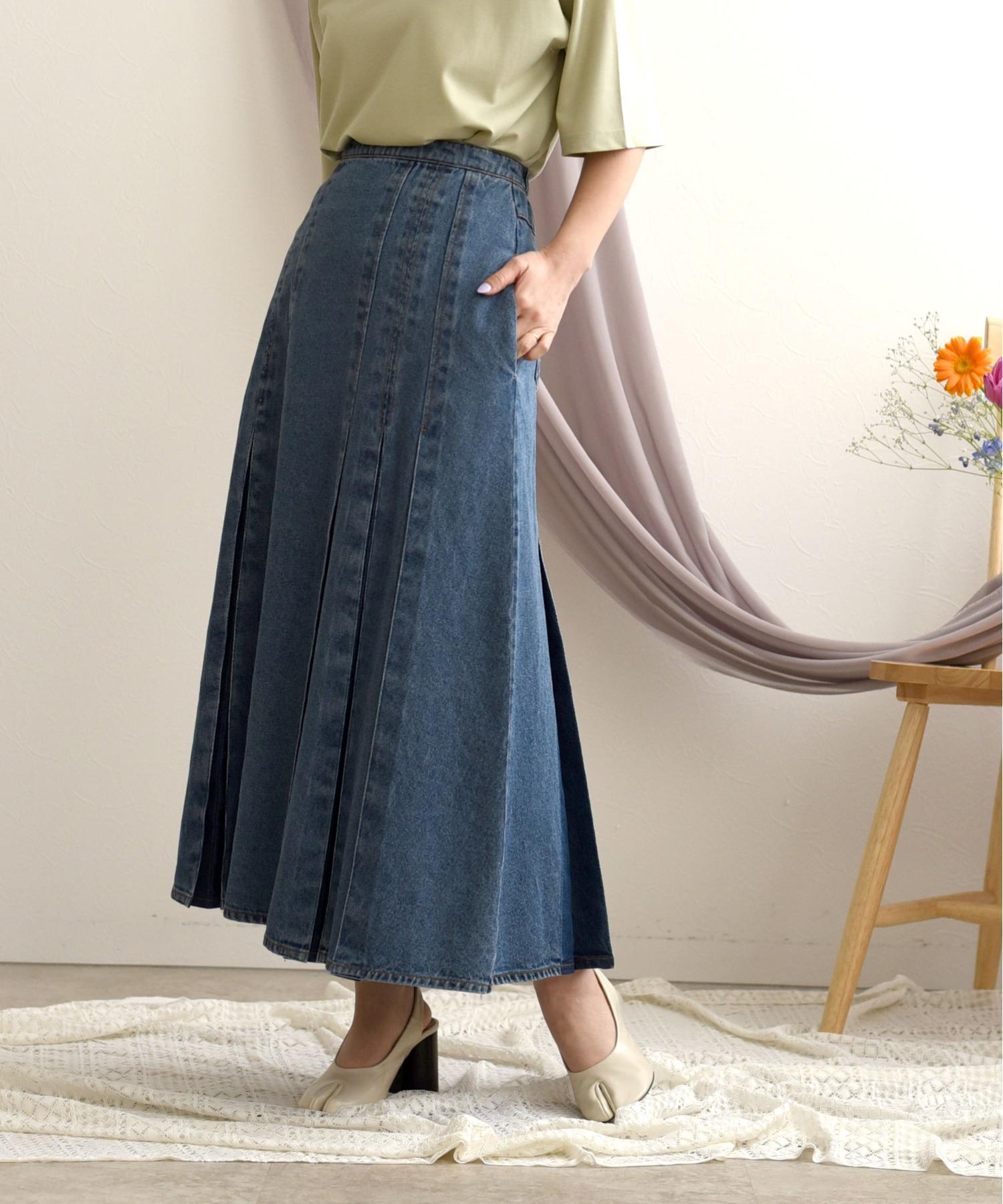 プリーツ風ミモレデニムスカート