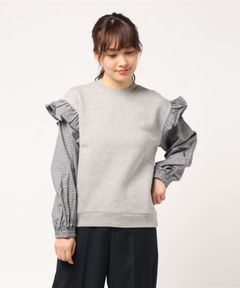 【Clu】SWEATSHIRT WITH CONTRASR SLEEVES