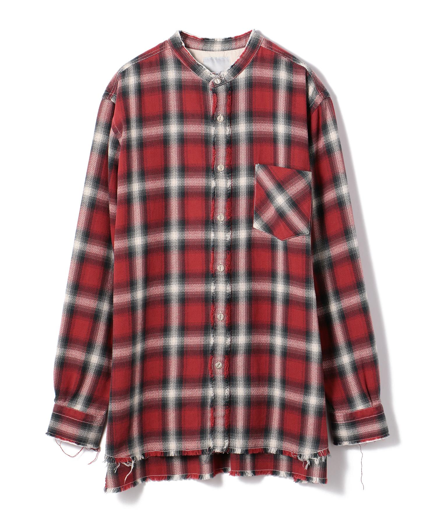 ONEGRAVITY / チェック柄バンドカラーグランジシャツ