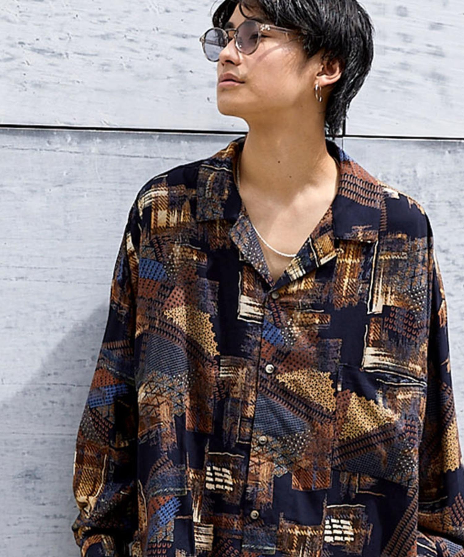 ドレープ リラックス アソート柄オープンカラーシャツ