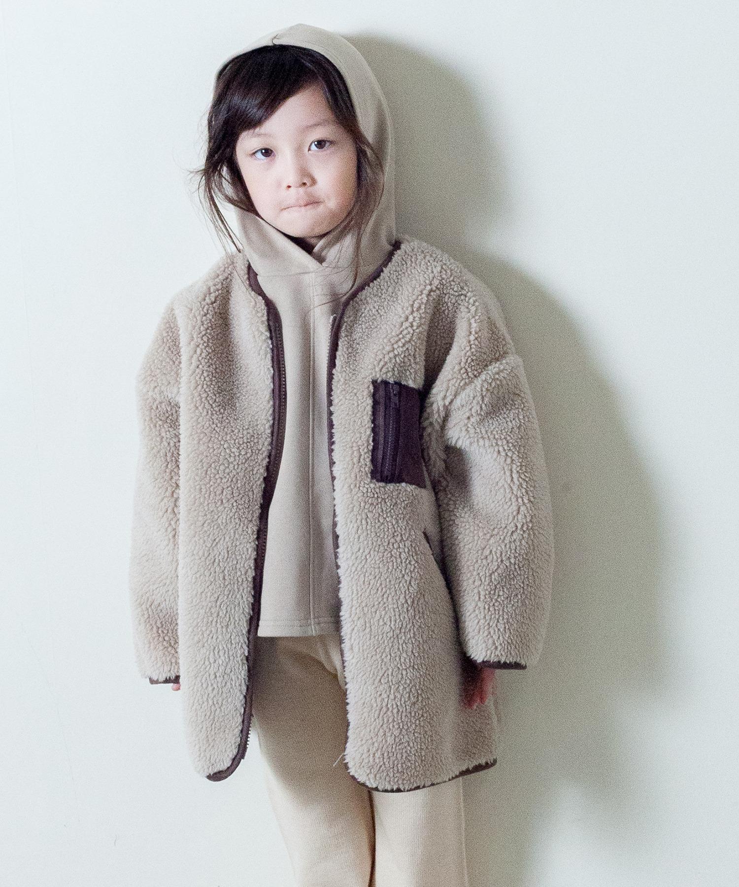 【&yam】パイピング付きノーカラーボアロングアウター/羽織り/コート