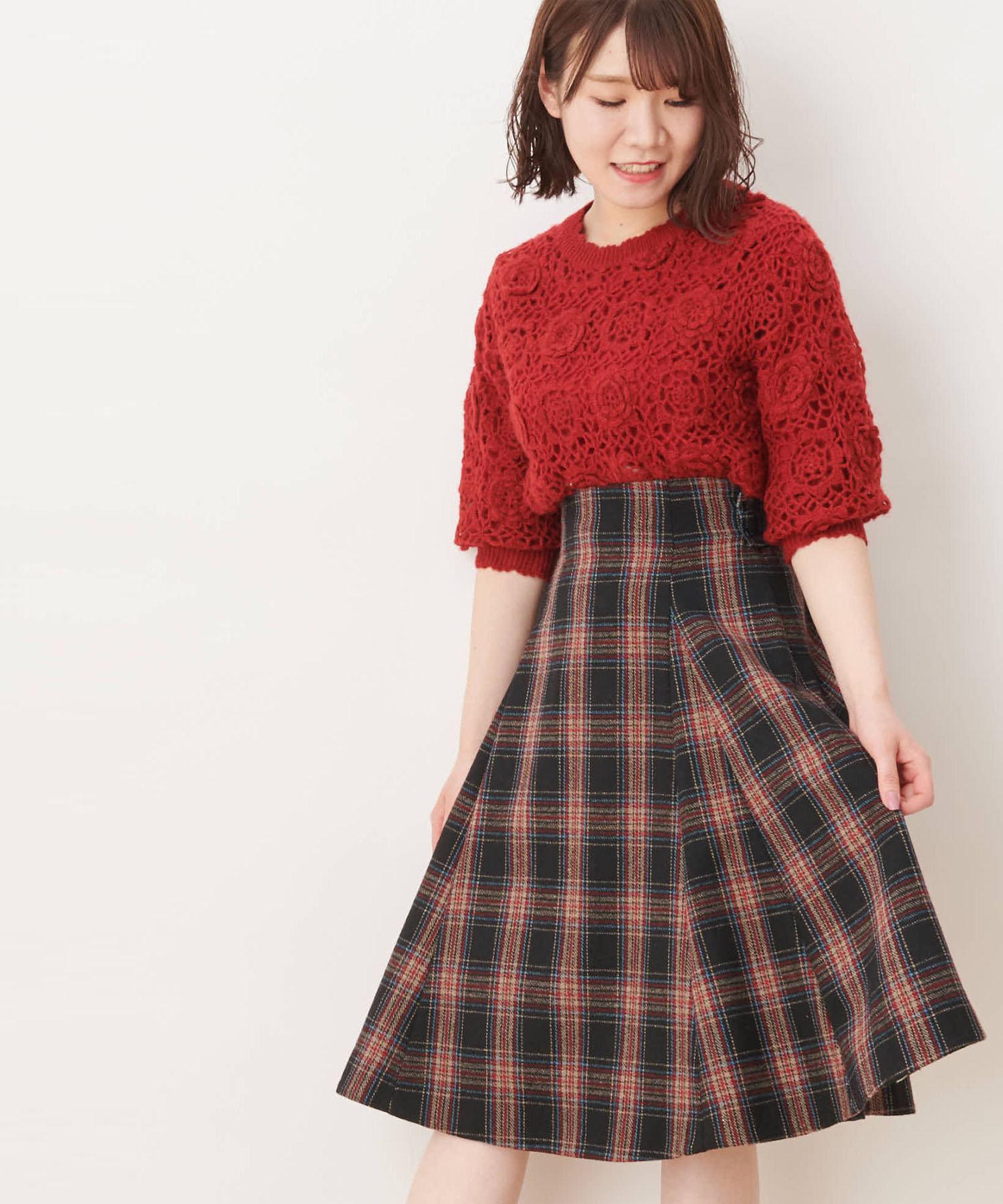 【CanCam/non-no掲載】ウールチェックフレアースカート