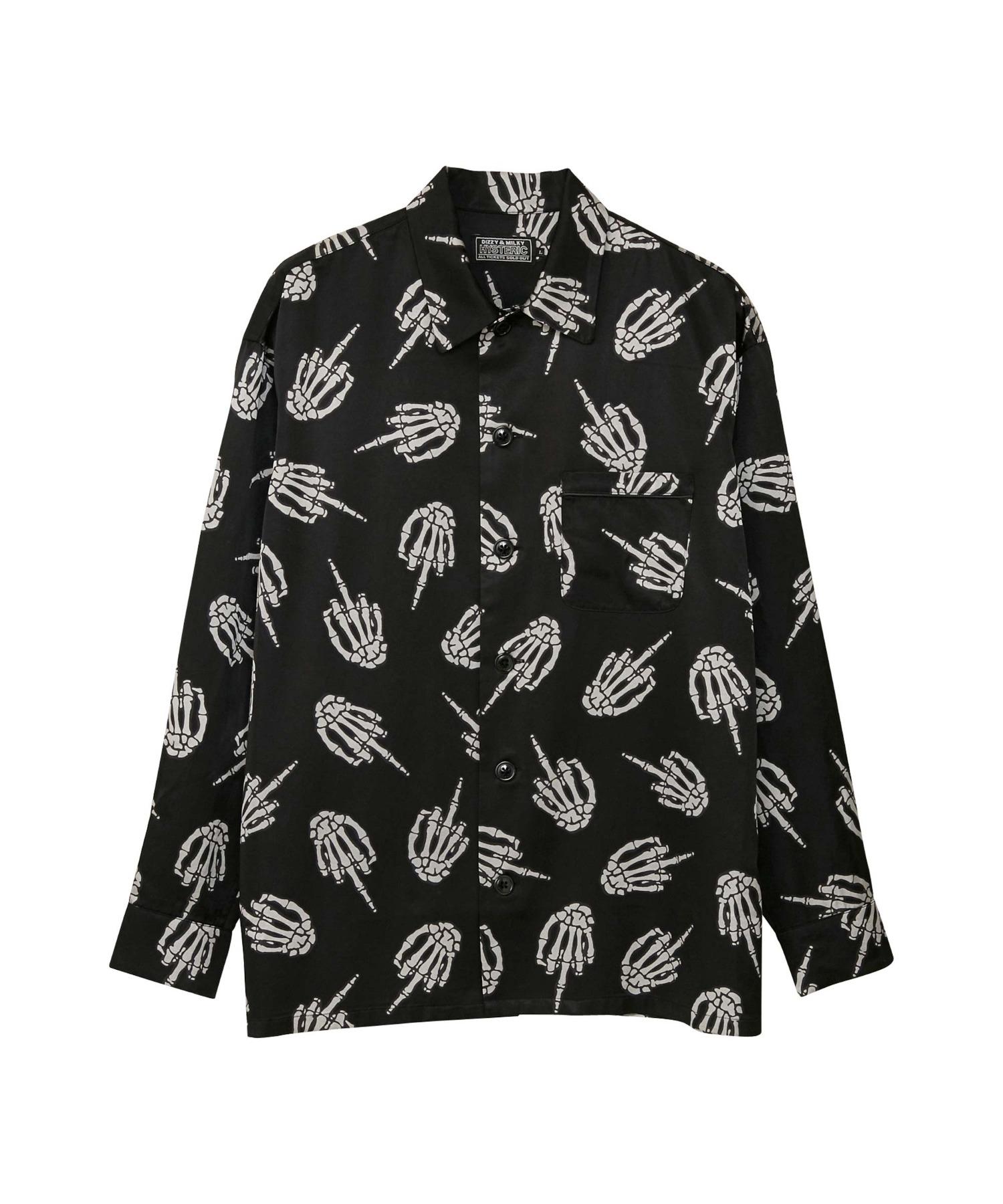 MIDDLE FINGER柄 パジャマシャツ