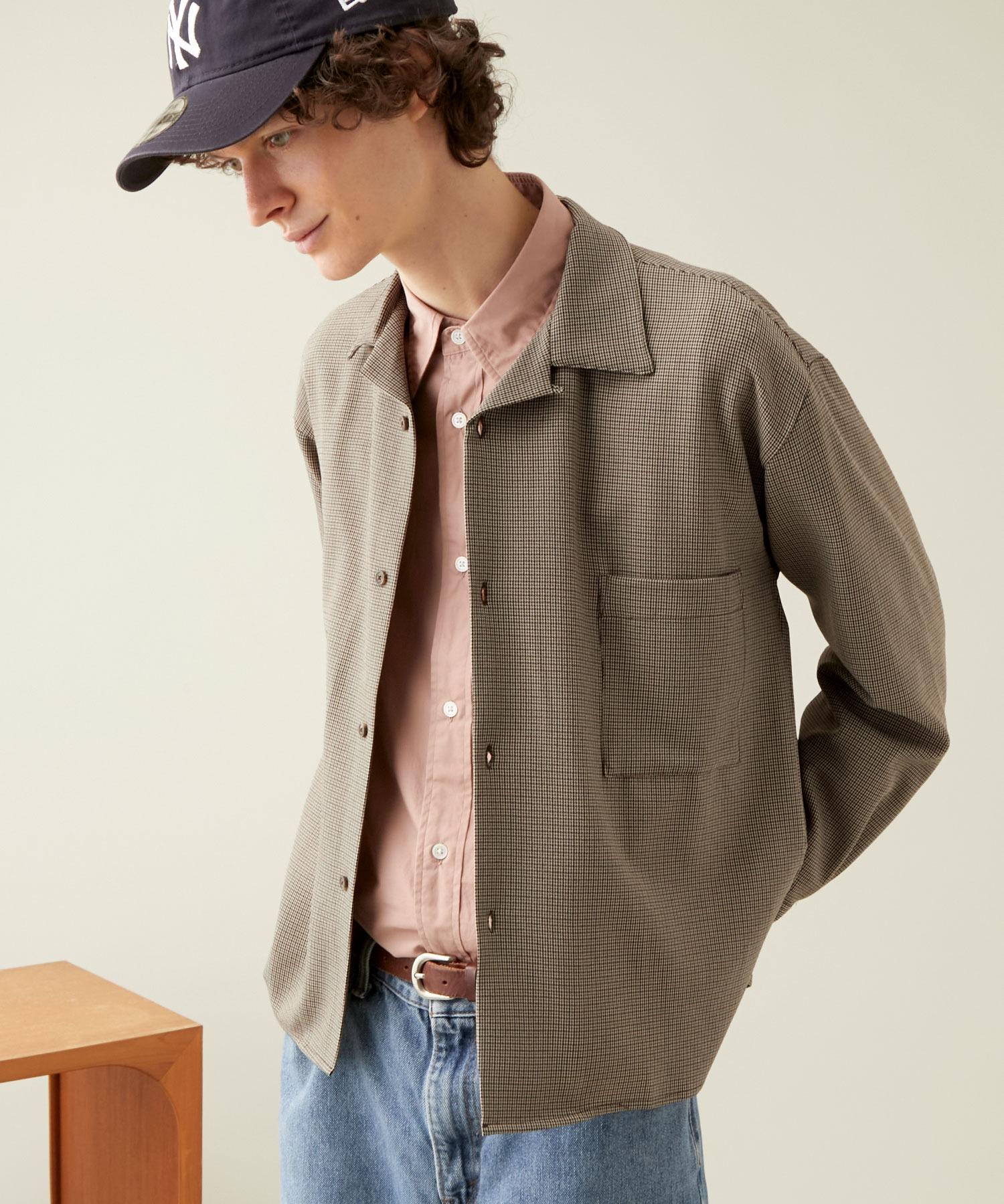 ブライトポプリンリラックスオープンカラーシャツ L/Sとろみシャツ Poplin Open Collar Shirt