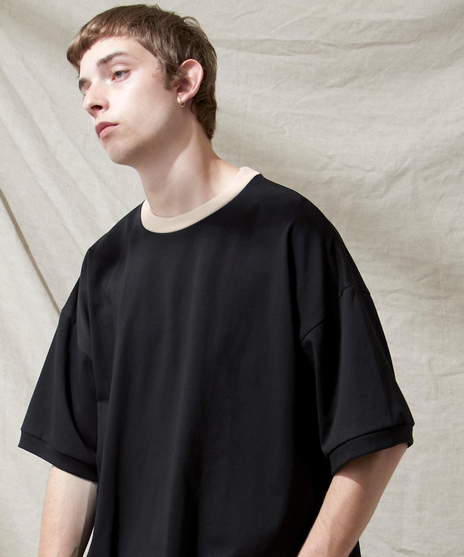 シルケットライク天竺 スーパービッグシルエットS/Sリブカットソー 無地T トップス  Tシャツ  リンガー MERCERIZATION COTTON BIG SILHOUETTE LIB SS TEE - EMMA CLOTHES 2021SS -