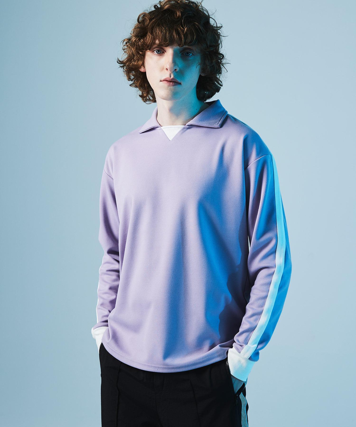 ポンチローマ オーバーサイズ L/S ジャージーポロ ラインカットソー(EMMA CLOTHES)