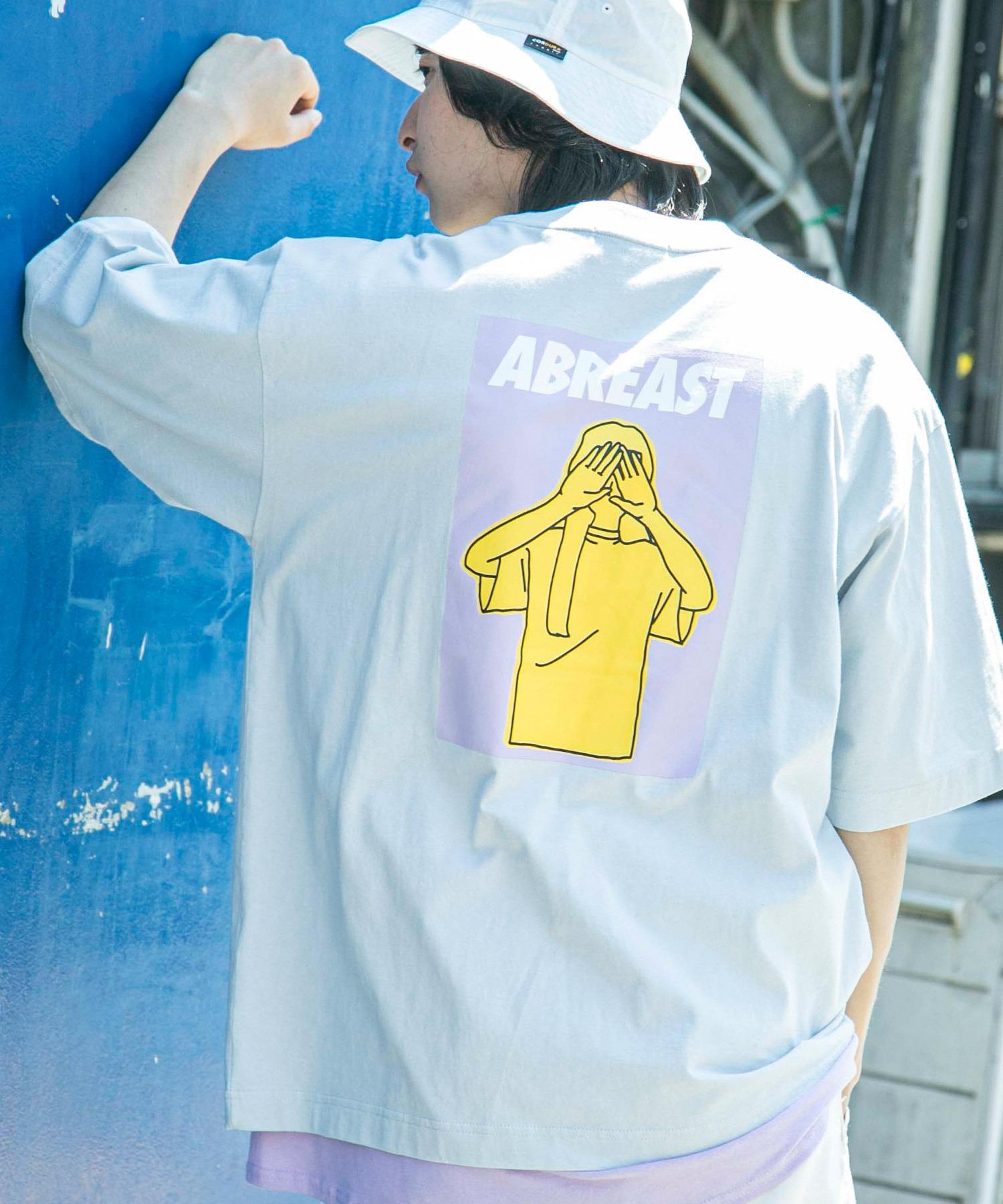 コットン天竺 オーバーサイズ イラストロゴプリント/バックプリント 半袖カットソー Tシャツ 2021SUMMER