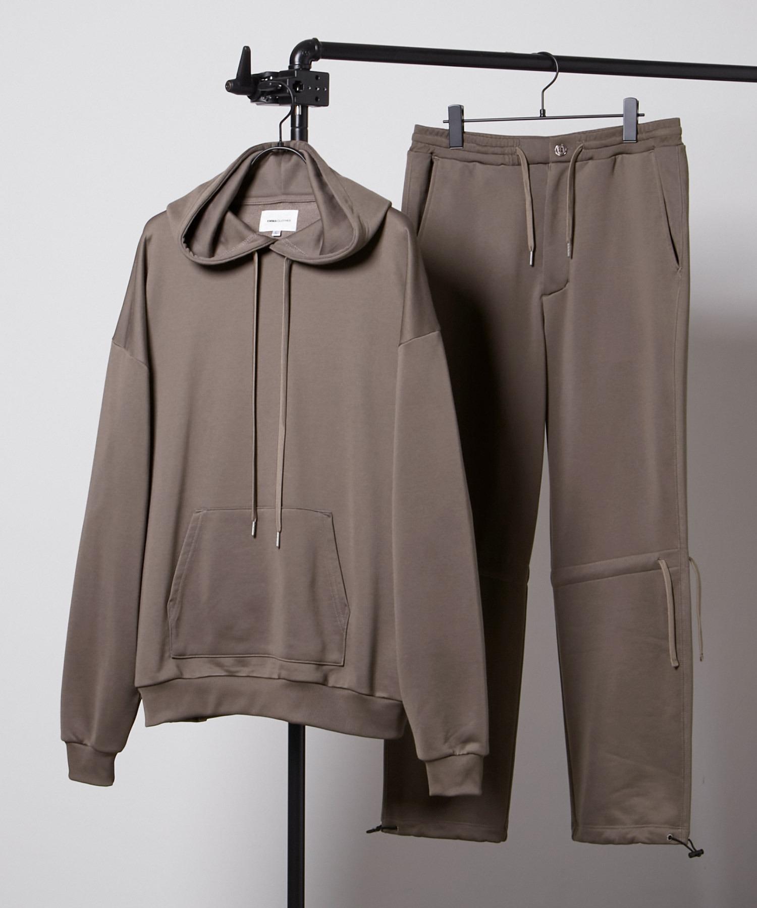 【セットアップ】ビッグシルエット クオリティーブライト裏毛 プルオーバーパーカー&ドローコードスウェットパンツ EMMA CLOTHES 2020AW