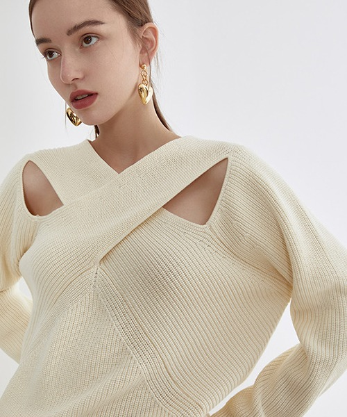 【Fano Studios】【2021SS】Crossing chest rib cottonknit FX21S128
