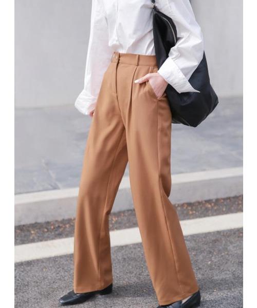 【chuclla】【2021/SSリネン素材追加】Semi wide color slacks sb-1 sb-4 chw869