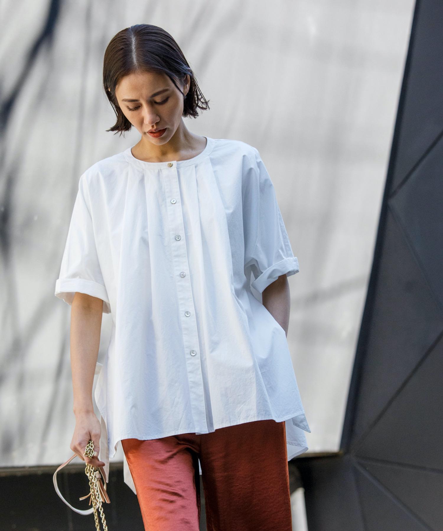 サイドリボンフレアシャツ(ポンチョ風)
