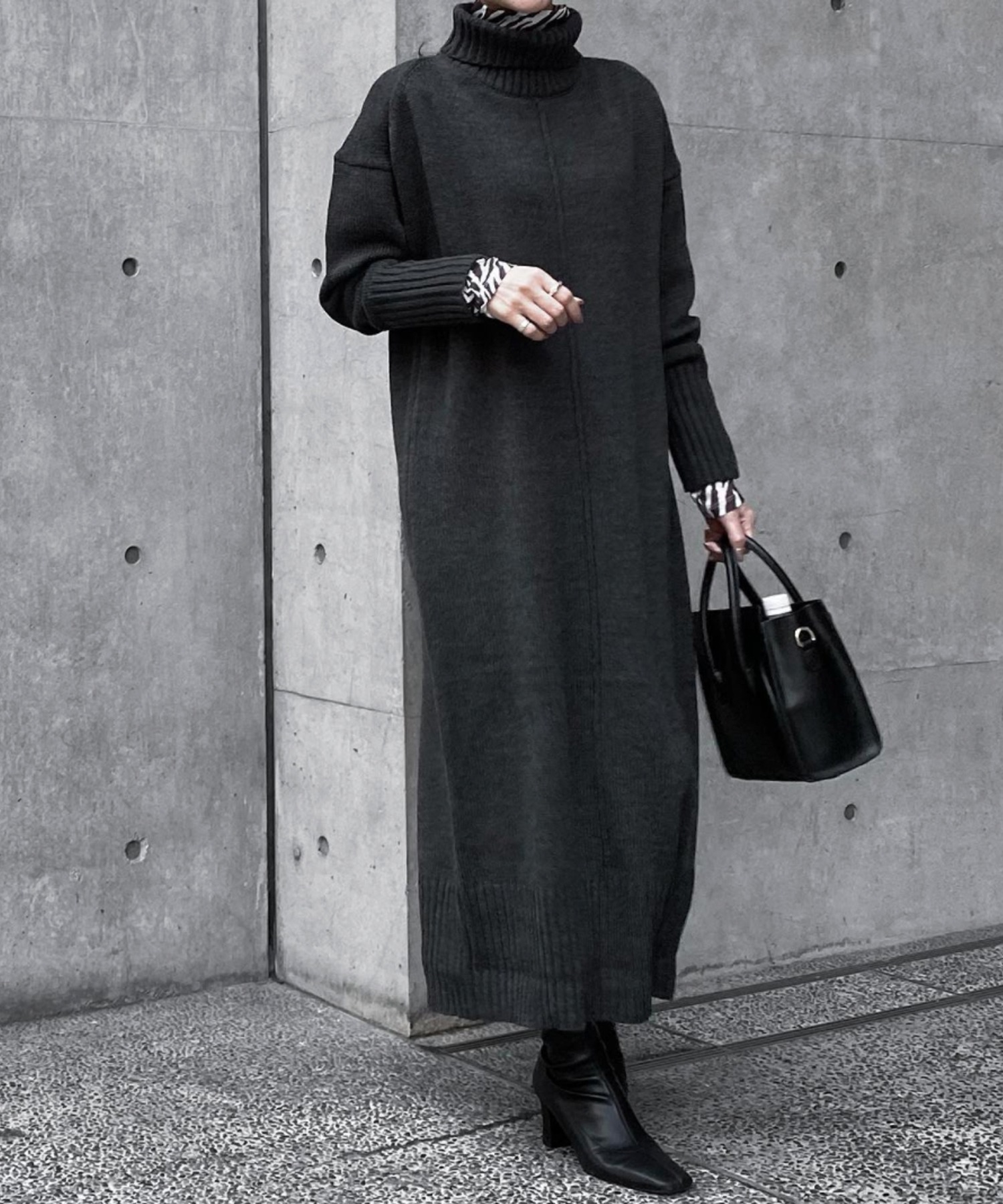 【CIENA】タートルネックオーバーニットワンピース