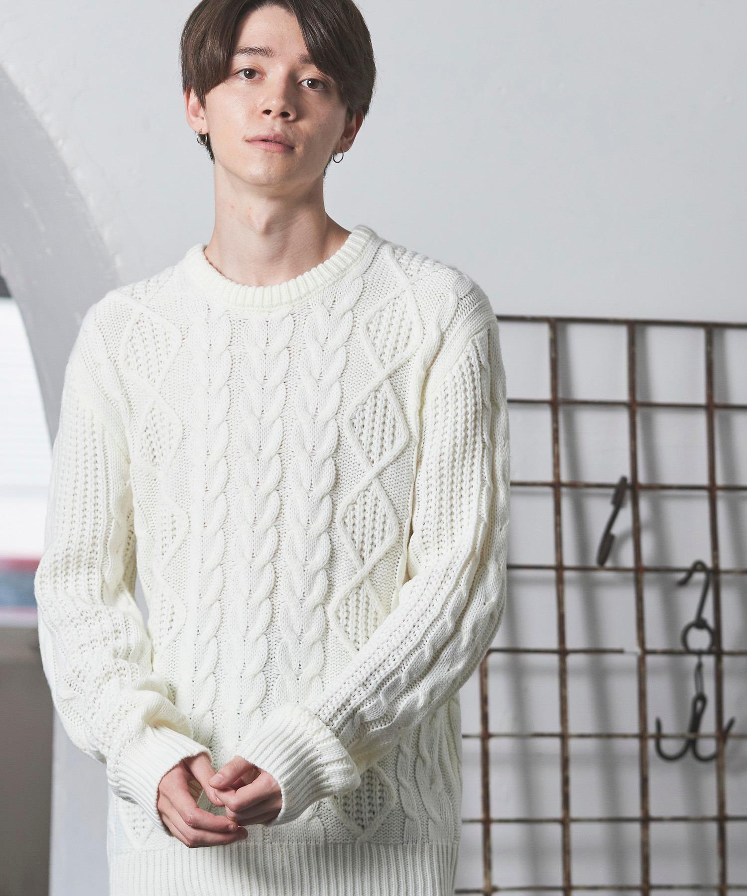 オーバーサイズアラン編みクルーネックケーブルニットセーター2019-2020WINTER(MONO-MART)