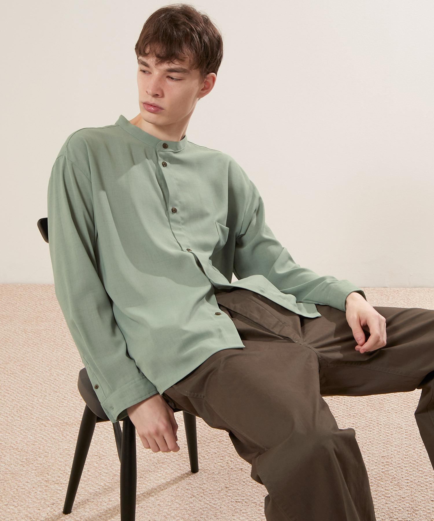 ブライトポプリンリラックスバンドカラーシャツ Poplin Band Collar Shirt Long sleeve
