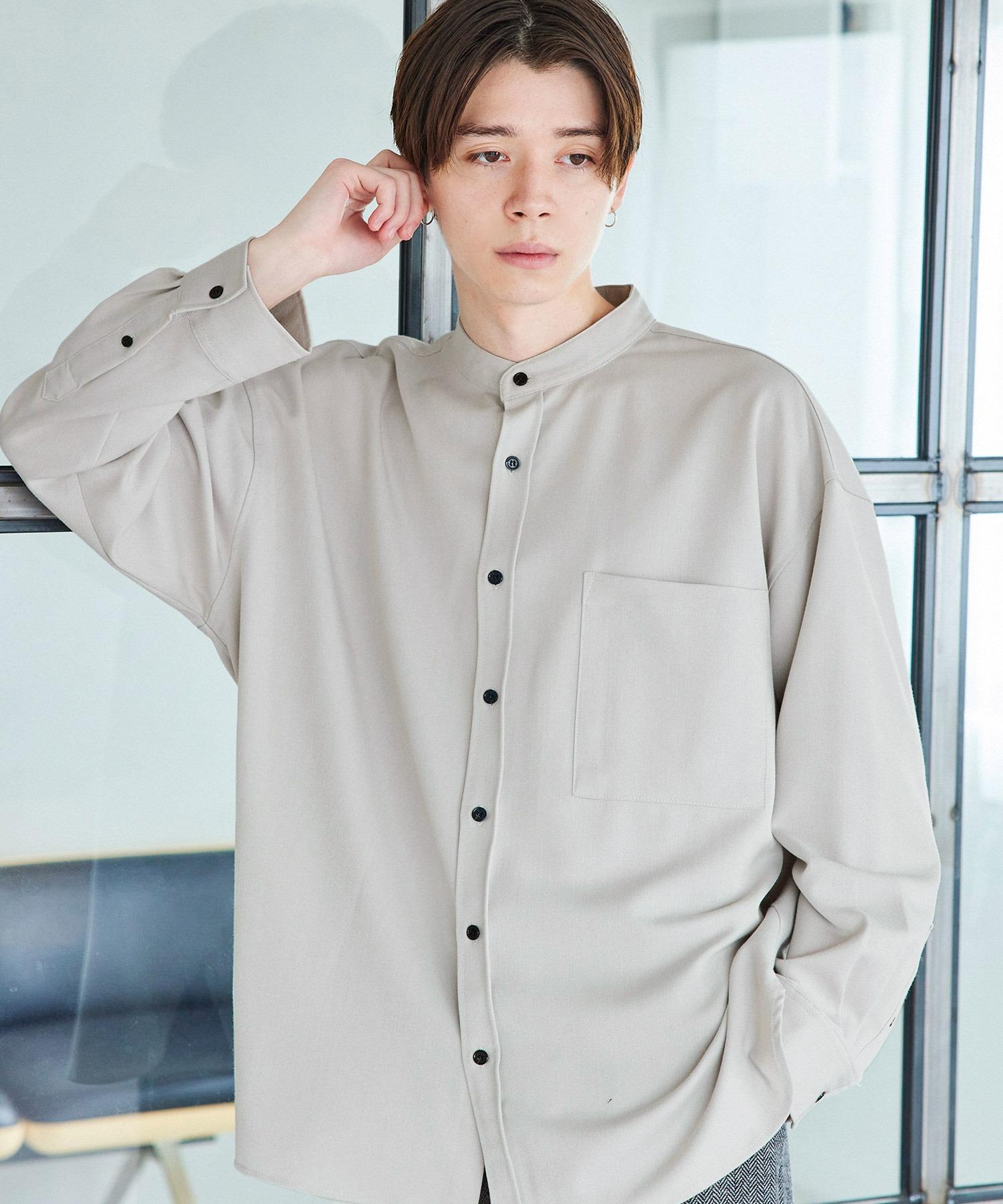 TRストレッチ スーパービッグシルエットバンドカラーシャツ