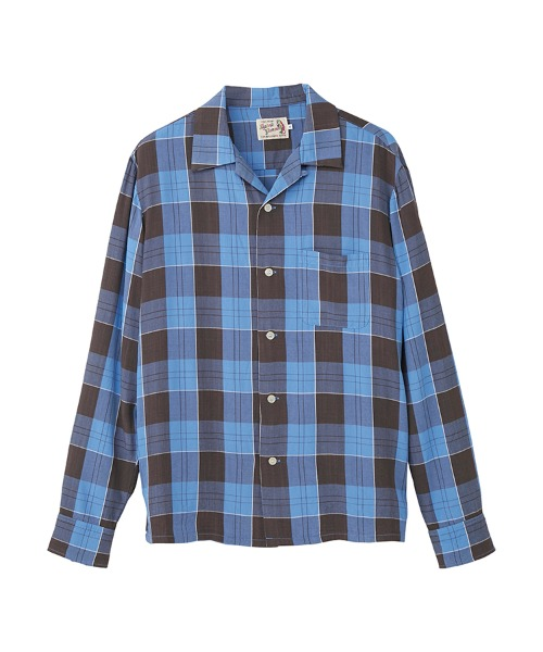 D.H.C.G刺繍 オープンカラーシャツ