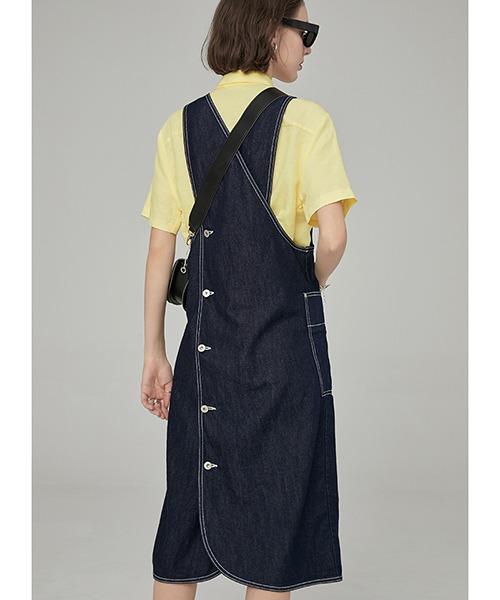 【Fano Studios】White stitch apron denim dress FA19L130