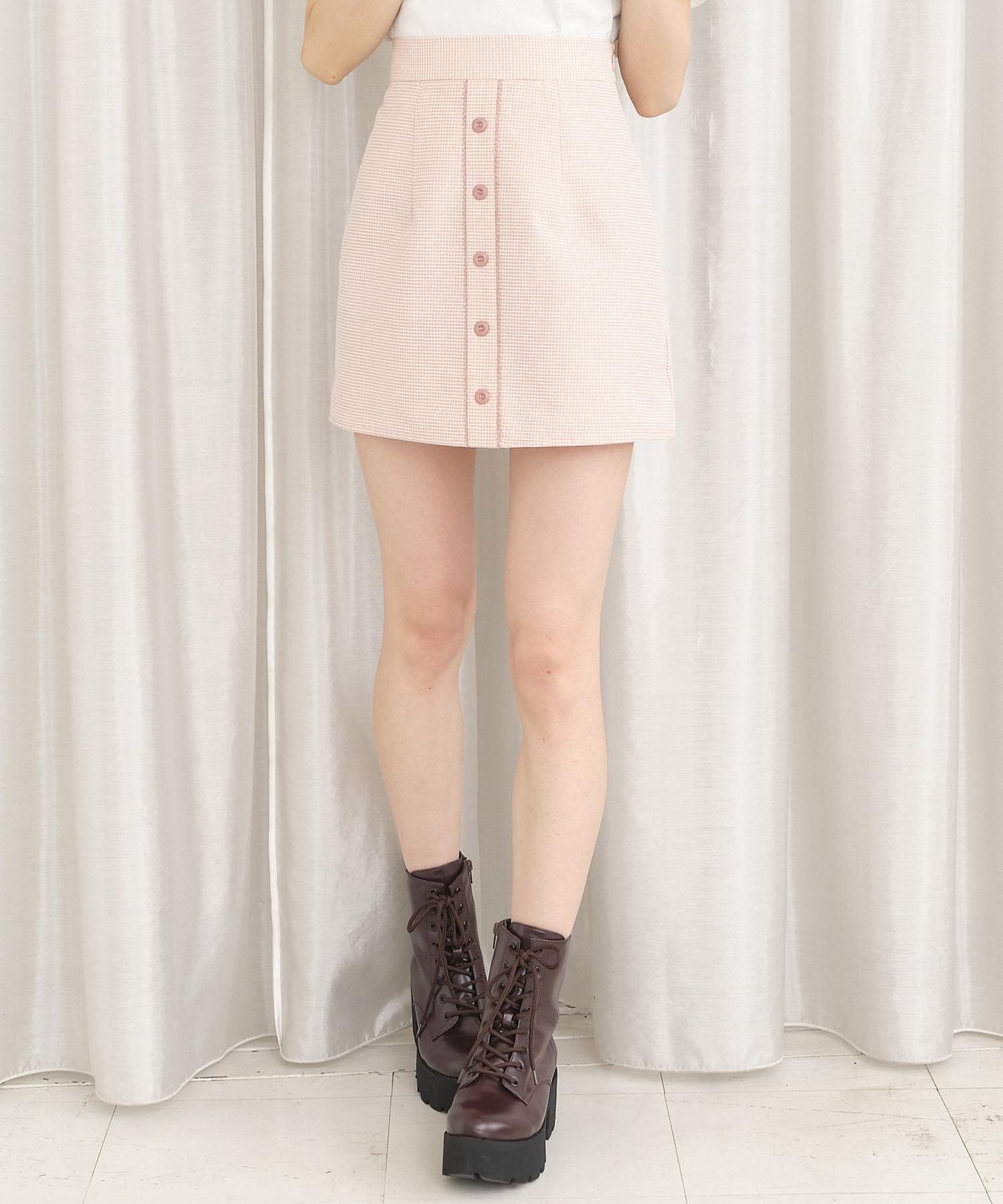 ラメギンガムミニスカート