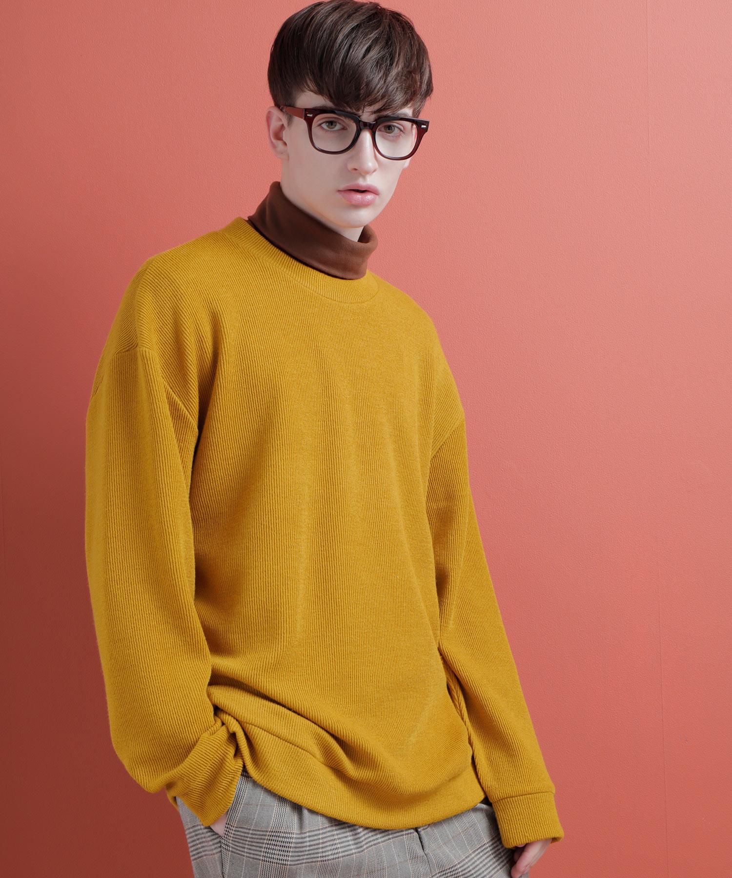 TRストレッチ畦編みクルーネックニットセーター