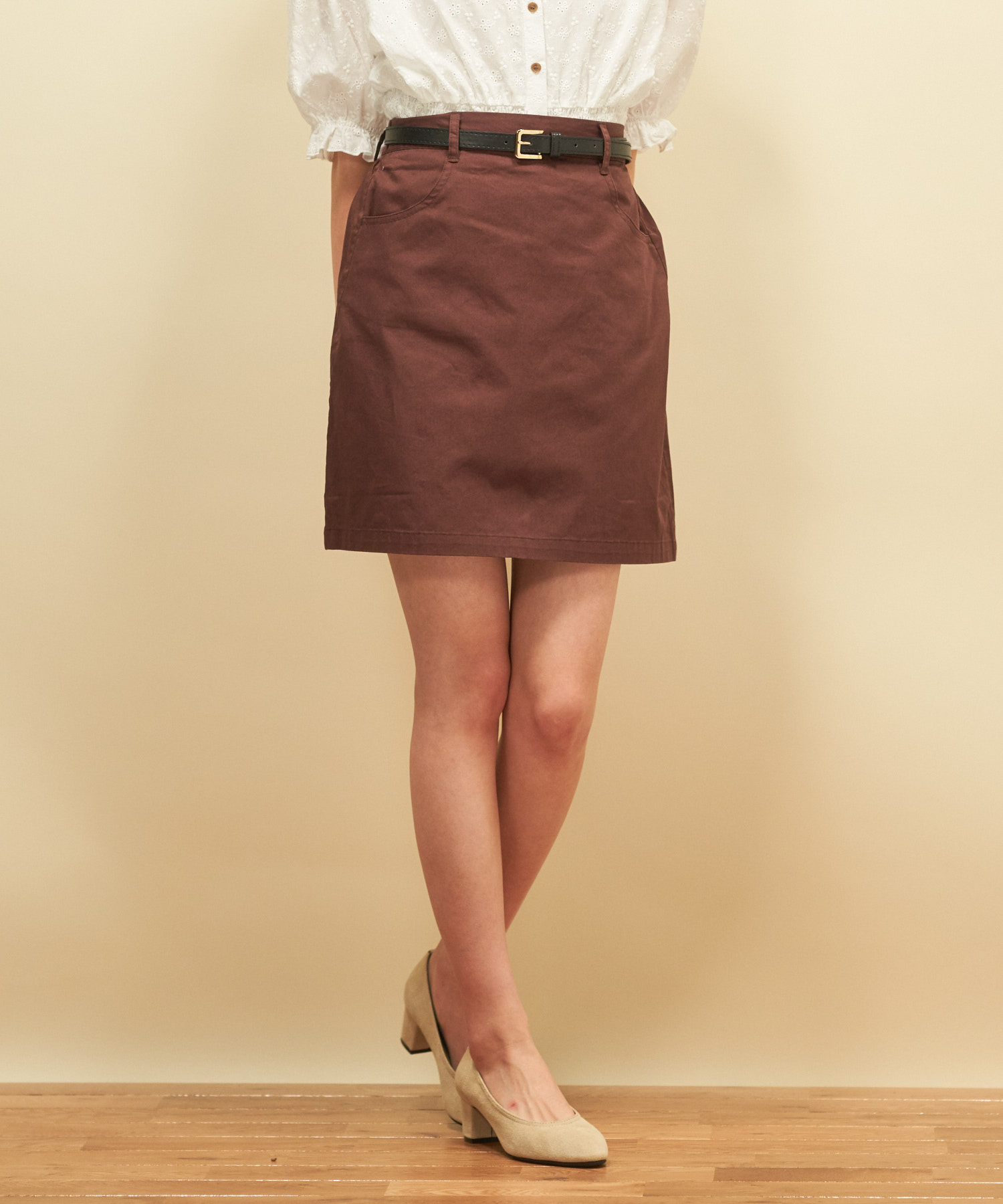 ベルト付ツイル台形スカート