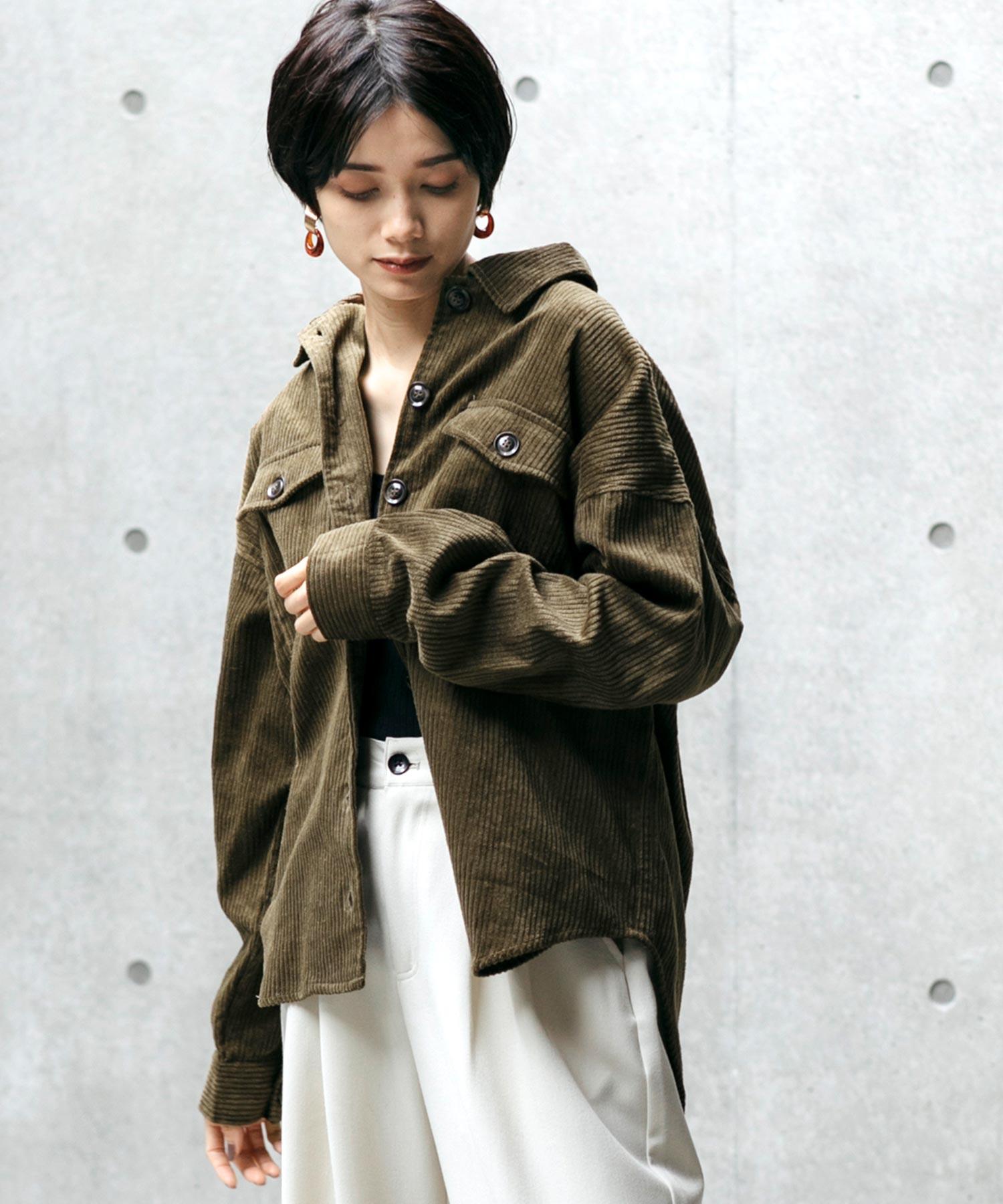 ビッグシルエットコーデュロイCPOシャツジャケット