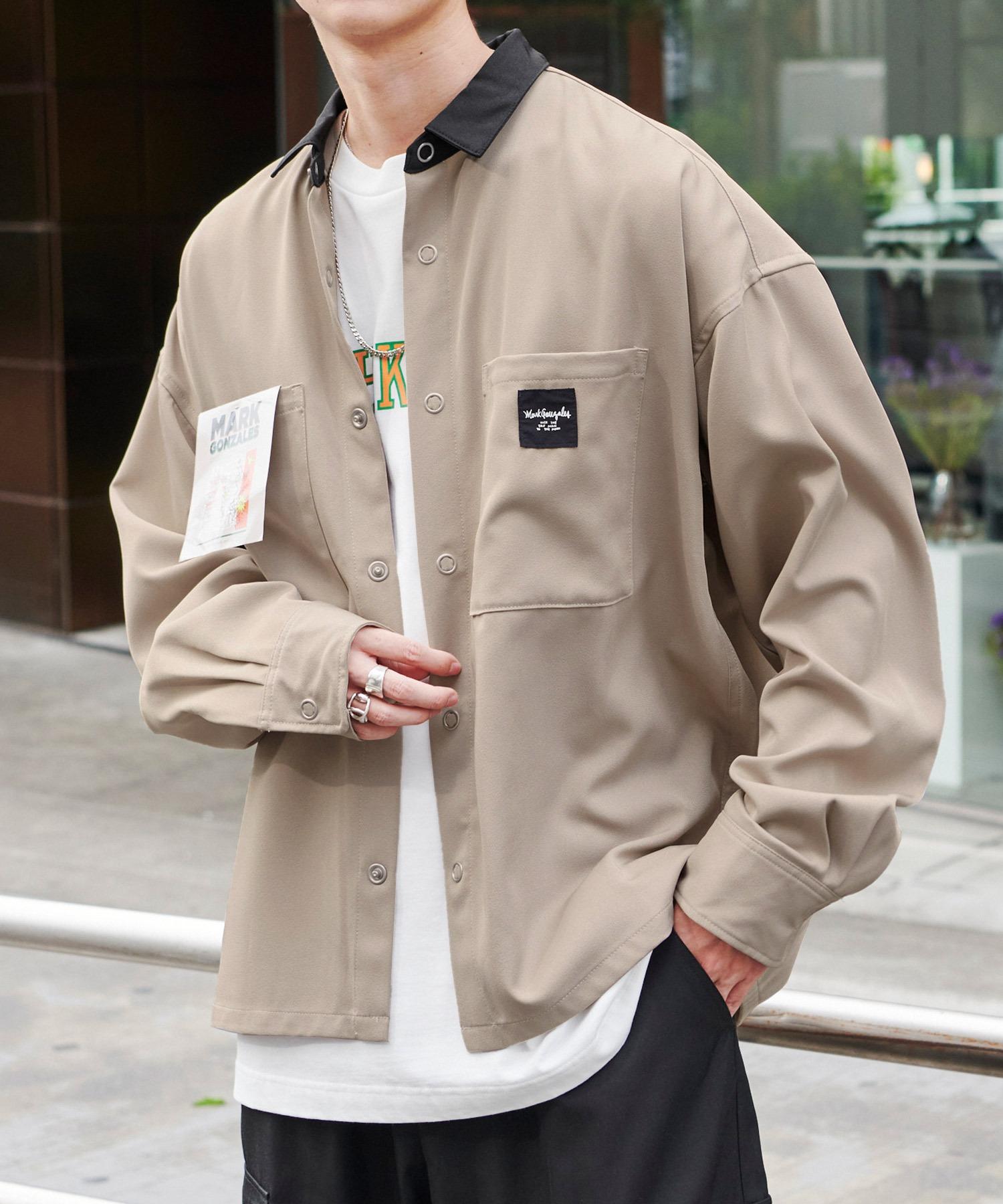 Mark Gonzales/マークゴンザレス MONO-MART別注 オーバーサイズ クレリック ピスネーム長袖ワークシャツ