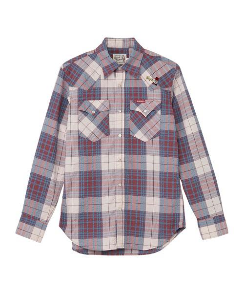 SKULL刺繍 ウエスタンシャツ