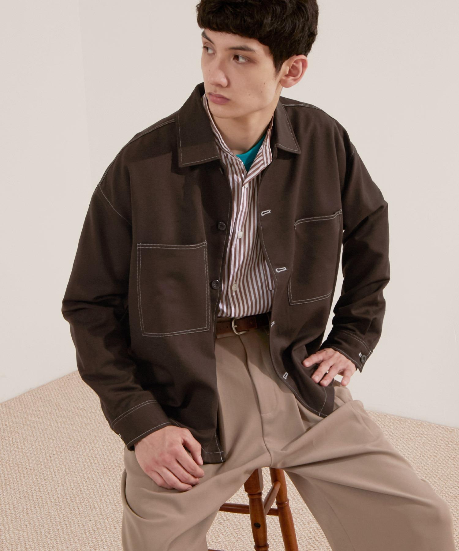 TRストレッチ ビッグステッチ L/Sオーバーボックス CPOシャツジャケット カバーオールシャツ EMMA CLOTHES 2021 S/S