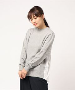【Clu】DRAPED BACK MIX MEDIA PULLOVER