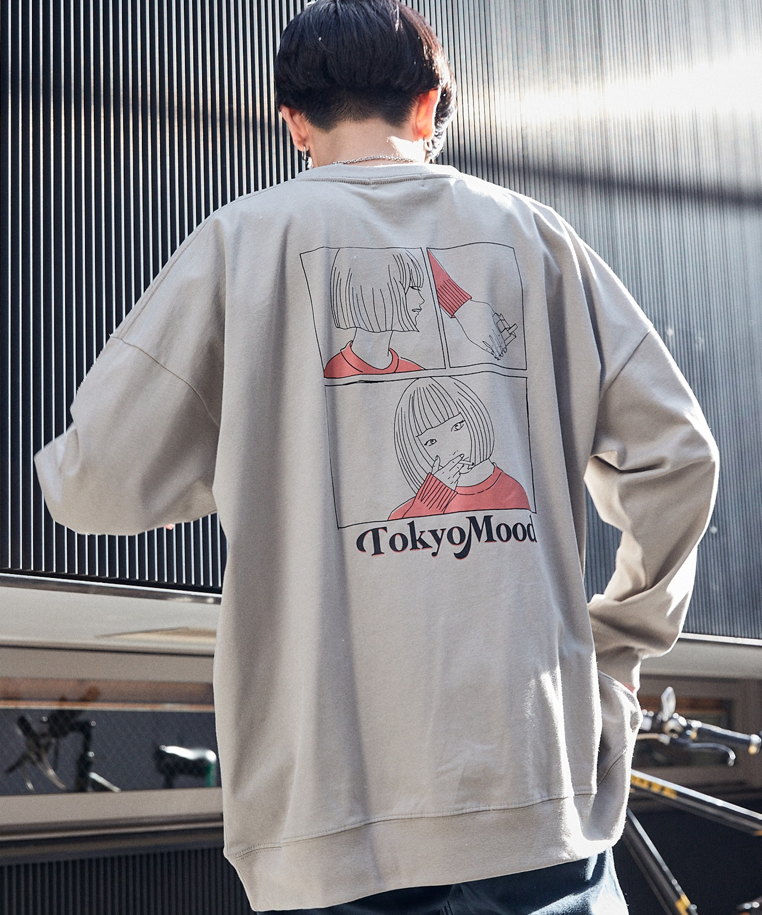 シルケットライク天竺 オーバーサイズイラストプリントL/Sカットソー/プリントロンT/Tokyo Mood/Best Friend Forever/I can always/Keep your Hairon/American Cocker Spaniel/French Bulldog