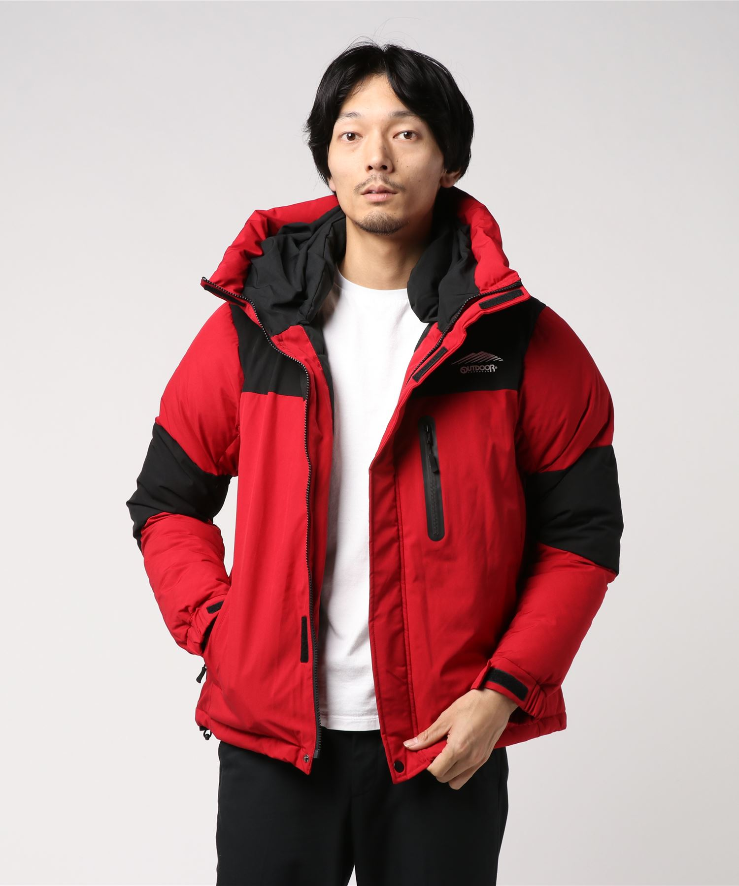 【OUTDOOR PRODUCTS】【GO OUT12月号掲載】切替フード中綿ジャケット ファイバーダウン 防風 ストレッチ 撥水加工 止水ファスナー