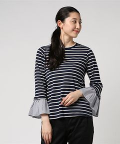 【Clu】CONTRAST BELL SLEEVE STRIPED