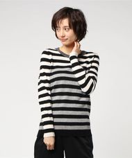 【WHITE+WARREN】ESSENTIAL STRIPE CREWNECK