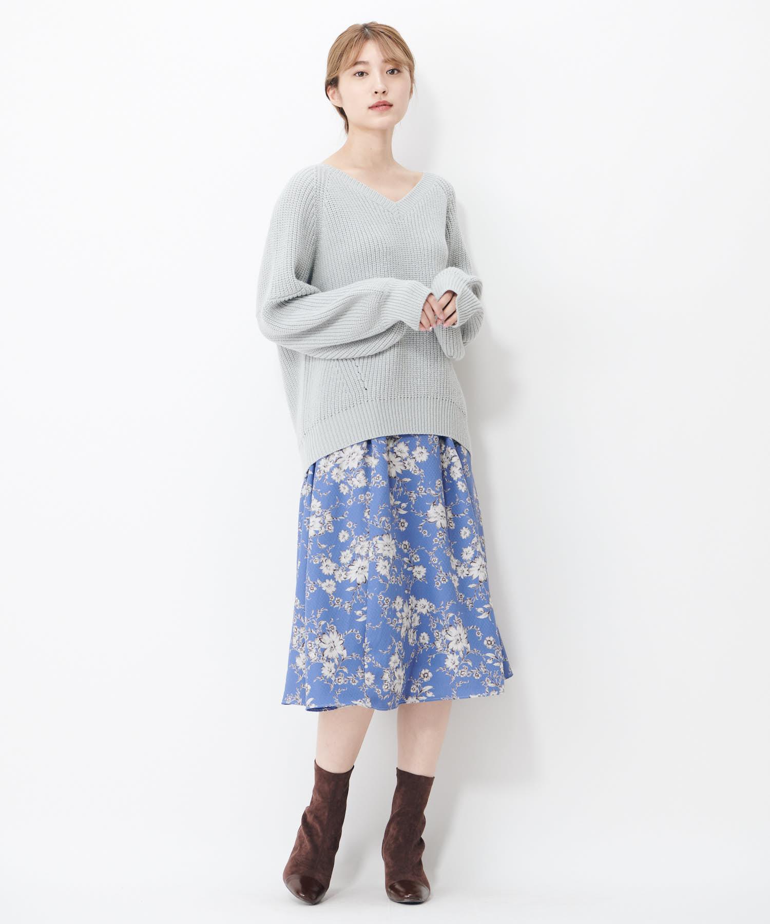 ツートンハナガラウエストギャザースカート