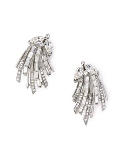 BEN-AMUN Silver crystal left and right deco CLIP earrings