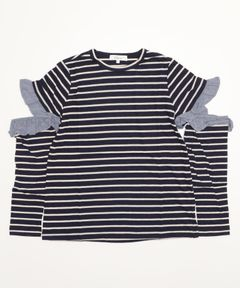 【Clu】OPEN SLEEVE STRIPED TOP WITH RUFFLED