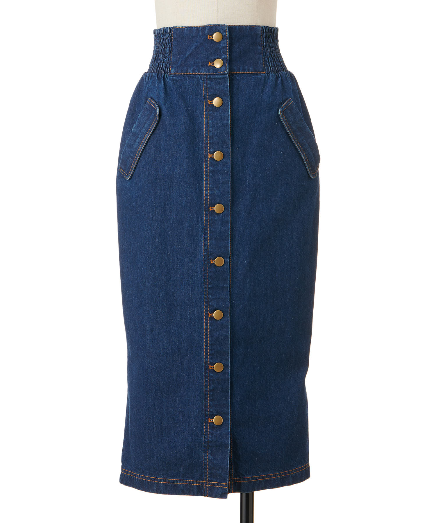 バックフレアーマエボタンナロースカート