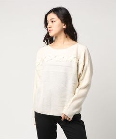 【WHITE+WARREN】HAND  WOVEN DETAIL PULLOVER