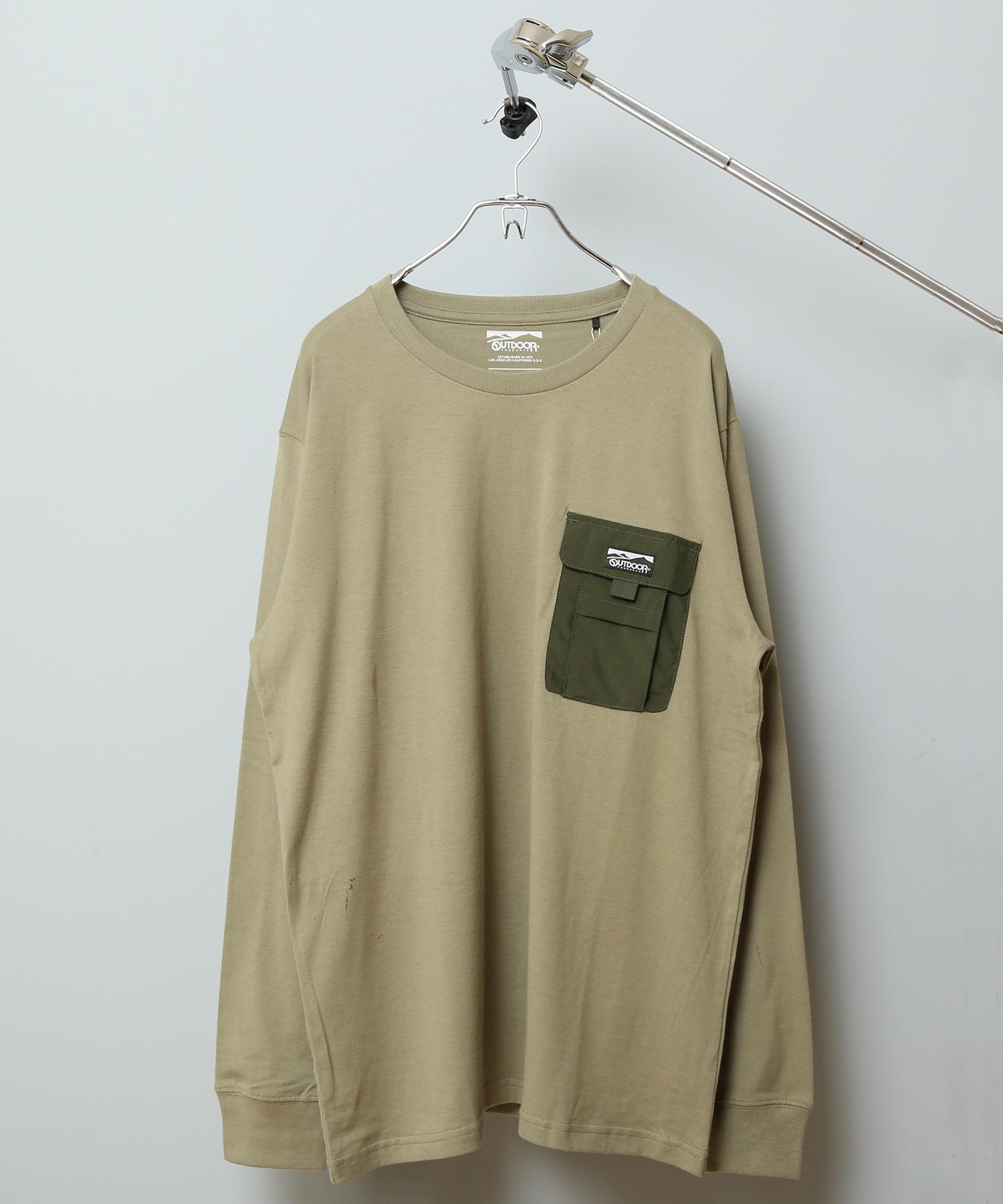 ポケットロンT ロングTシャツ やや身幅をゆったり 左胸に異素材のマチ付きポケット
